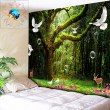 цена на 3D Hippie Forest Tapestry Animal Bird Hanging Flower Wall Tapestry Boho Home Decor Psychedelic Tapestry Tree tapiz pared tela