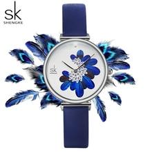 Shengke SK femmes montres haut de gamme bracelet en cuir de luxe femme montre bracelet bleu plume horloge Quartz dames montre reloj mujer 2019