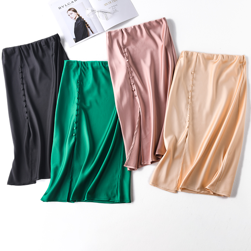 Korean Casual Skirts Women Silk Skirt Women Elegant Women Satin Office Lady High Waist Bodycon Skirt Faldas Mujer Moda