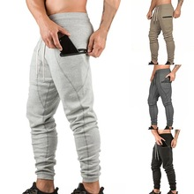 New Men Running Pants Male Big Pocket Autumn Casual Solid Color Slim Fit Drawstring Cuffed Athletic Joggers Sweatpants