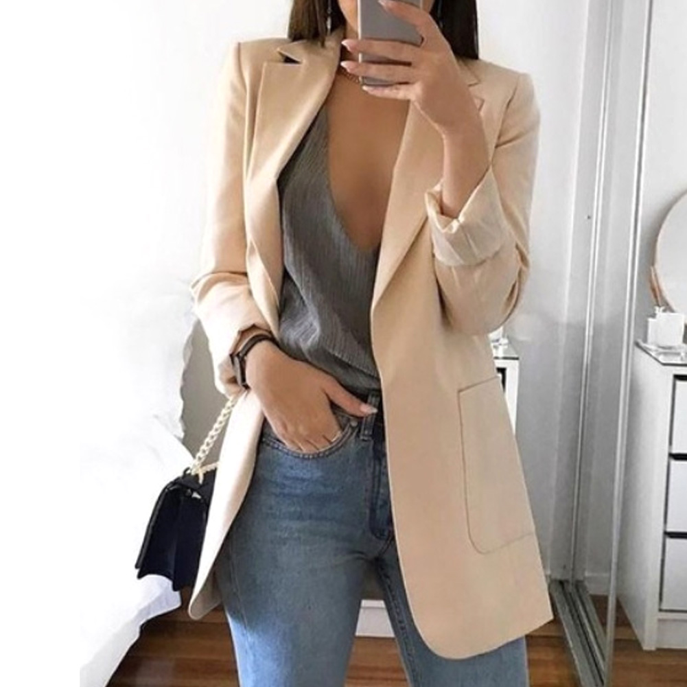 Women Long Sleeve Blazer With Pockets Slim Fit All-Match Cocktail Turn-down Collar Work Club Solid Party Casual Daily Wear