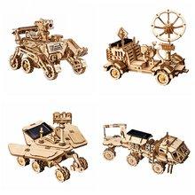 Robotime-Juego de construcción 3D de caza espacial de madera para niños y adolescentes, juguete de ensamblaje de energía Solar, 4 tipos móviles, LS402