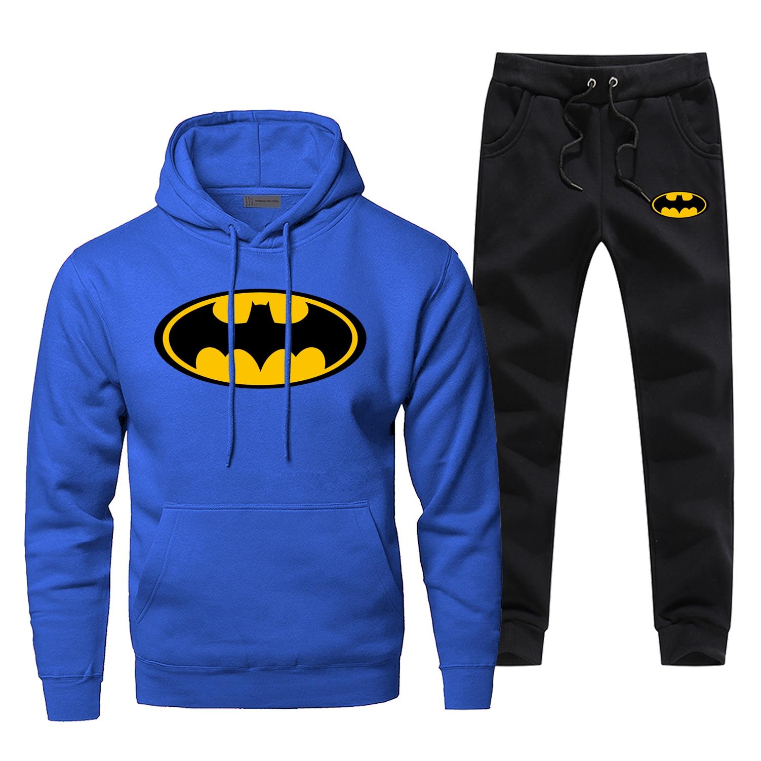 Batman Print Fashion Men's Full Suit Tracksuit Superhero Bat Man Sweatpants Hoodies For Men 2 Piece Set Fitness Warm Streetwear