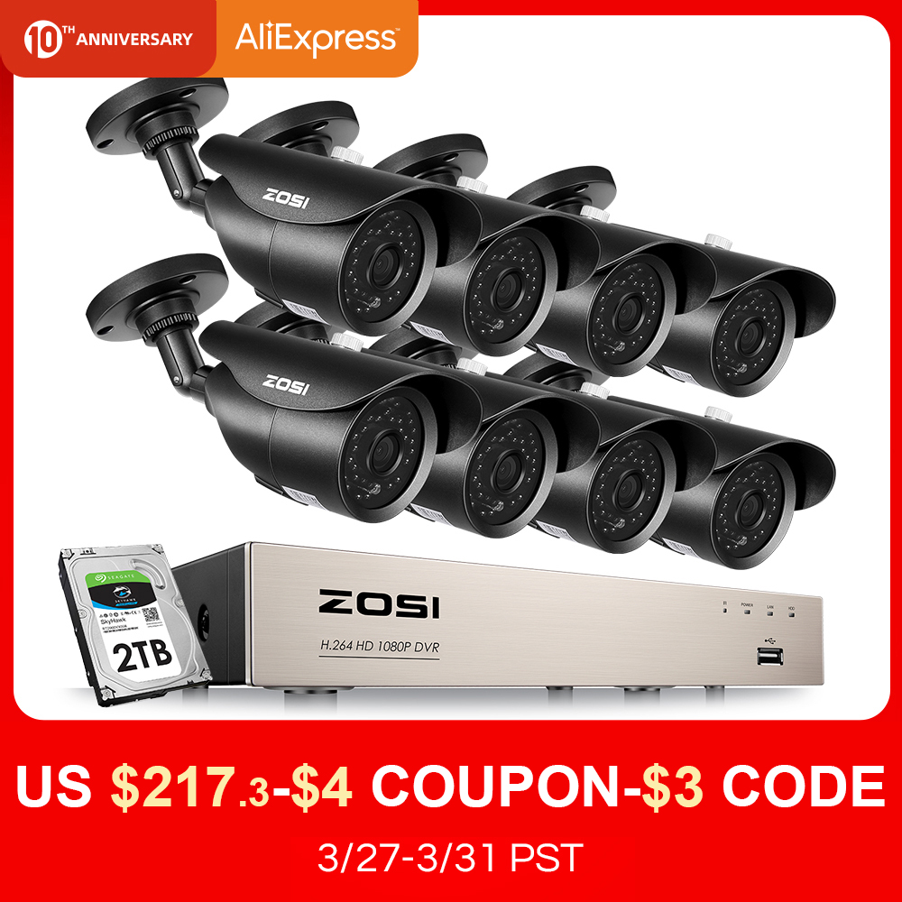 ZOSI HD-TVI 8CH 1080P DVR Kit 2.0MP Security Cameras System 8*1080P Day Night Vision CCTV Home Security With 2TB HDD