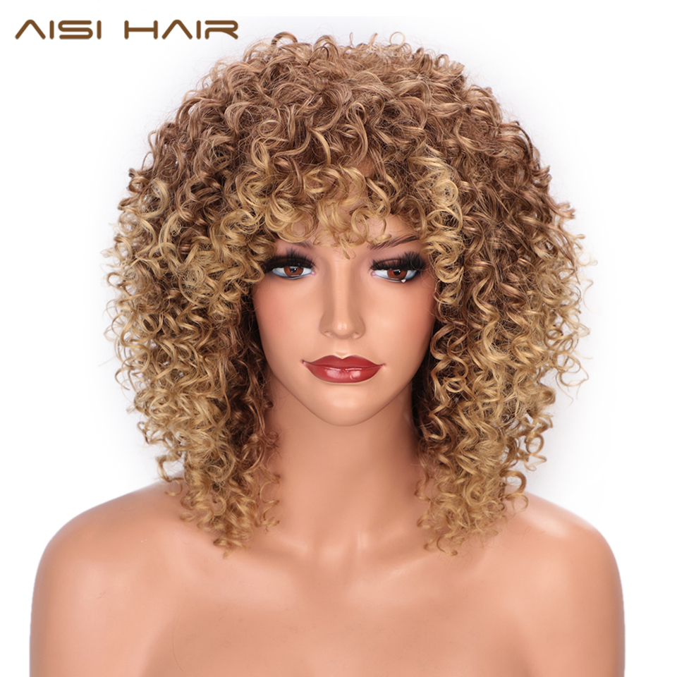 AISI HAIR Afro Kinky Curly Wig With Bangs Brown Mixed Blonde Hair Synthetic Wigs For Black Women Heat Resistant Natural Wigs
