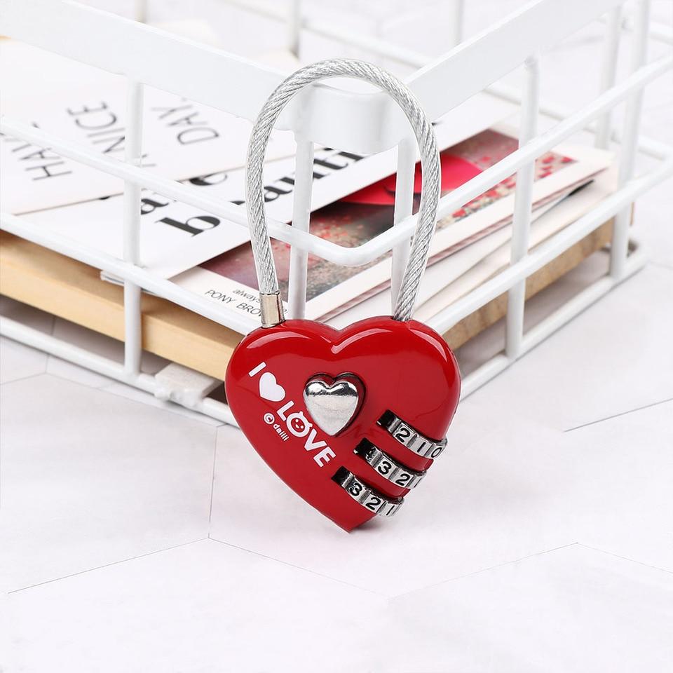 Red Maxmartt Heart Shape 3 Digit Code Combination Luggage Bag Lock Password Security Couple Padlock