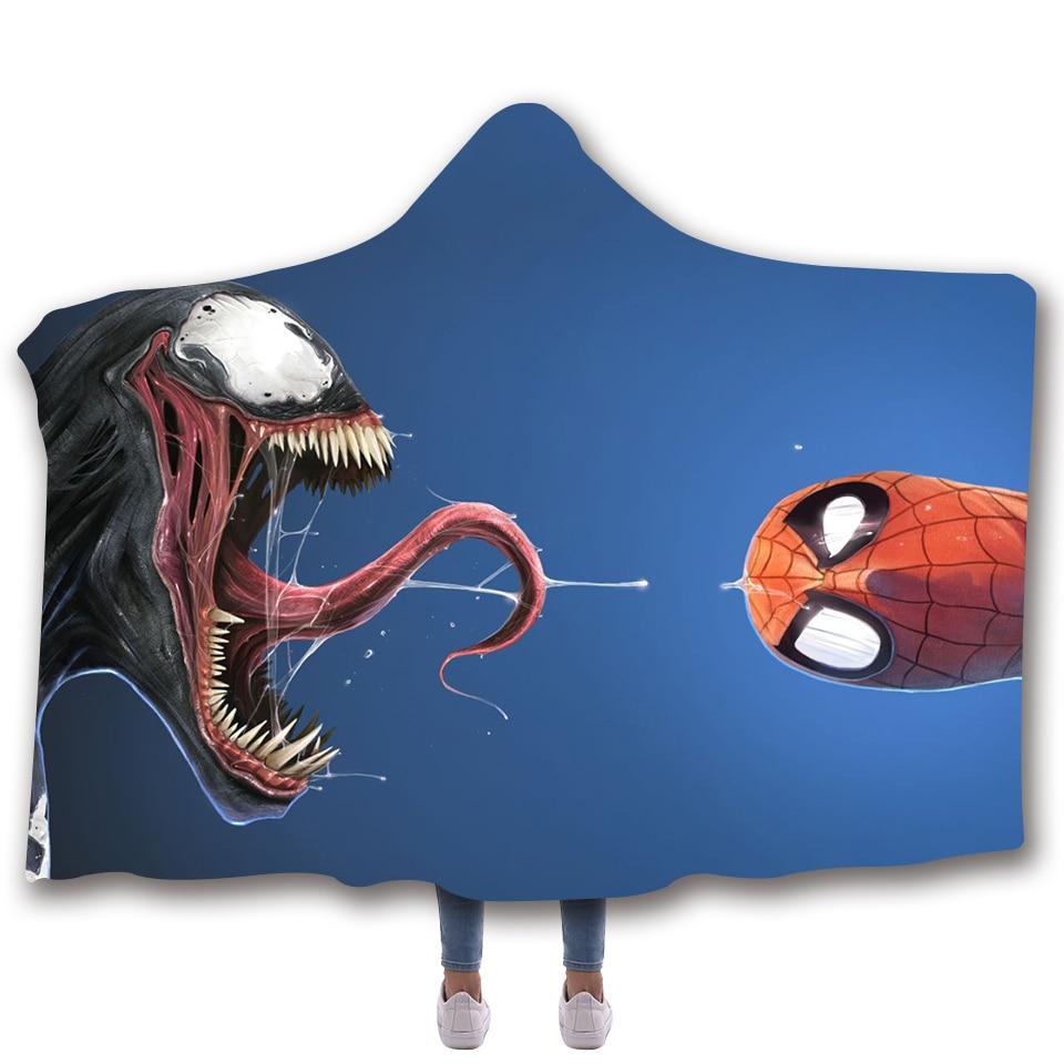 American Film Venom Fierce Blanket Adult blanket hoodie Coral Fleece Warm Blankets for Winter Wearable Superhero cobertor Large|Blankets| |  - title=