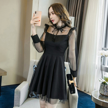 Vintage Mini Black Dress Elegant New Fashion Mesh Patchwork Sweet Ladies Dresses Long Sleeve Lace-up Bow Autumn Women S-XL