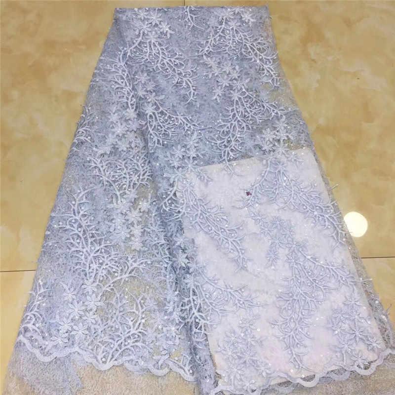 Mode africain Tulle dentelle avec paillettes bleu ciel nigérian français maille dentelle tissu blanc paillettes dentelle tissus pour robe de mariée