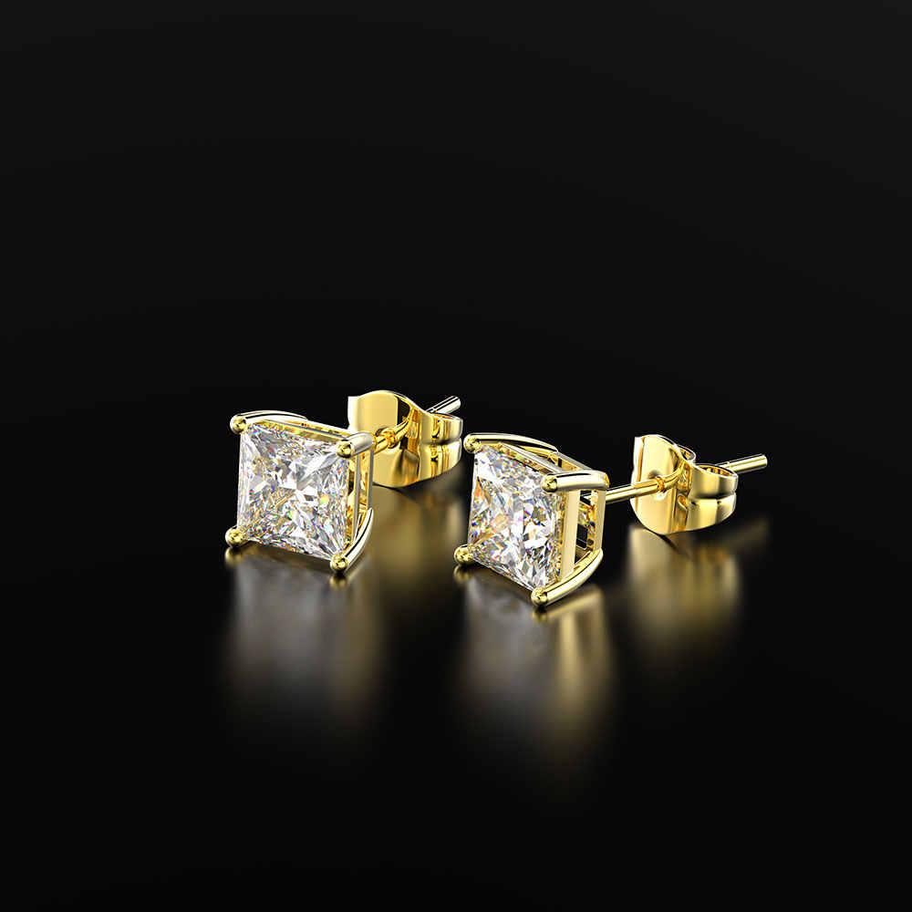 PANSYSEN Classic 6MM 7MM 8MM Square utworzono Moissanite Wedding Engagement stadniny kolczyki dla kobiet ze srebra próby 925 elegancka biżuteria na prezent