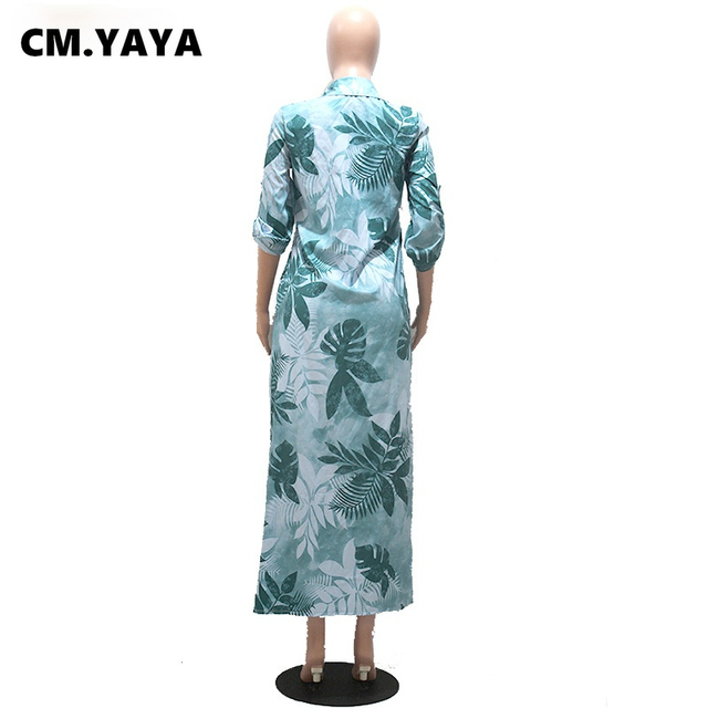 CM.YAYA Women Dress Half Sleeve Turn-down Collar Single Breasted Loose Straight Long Dress Office Lady Street Fashion Outfit 5