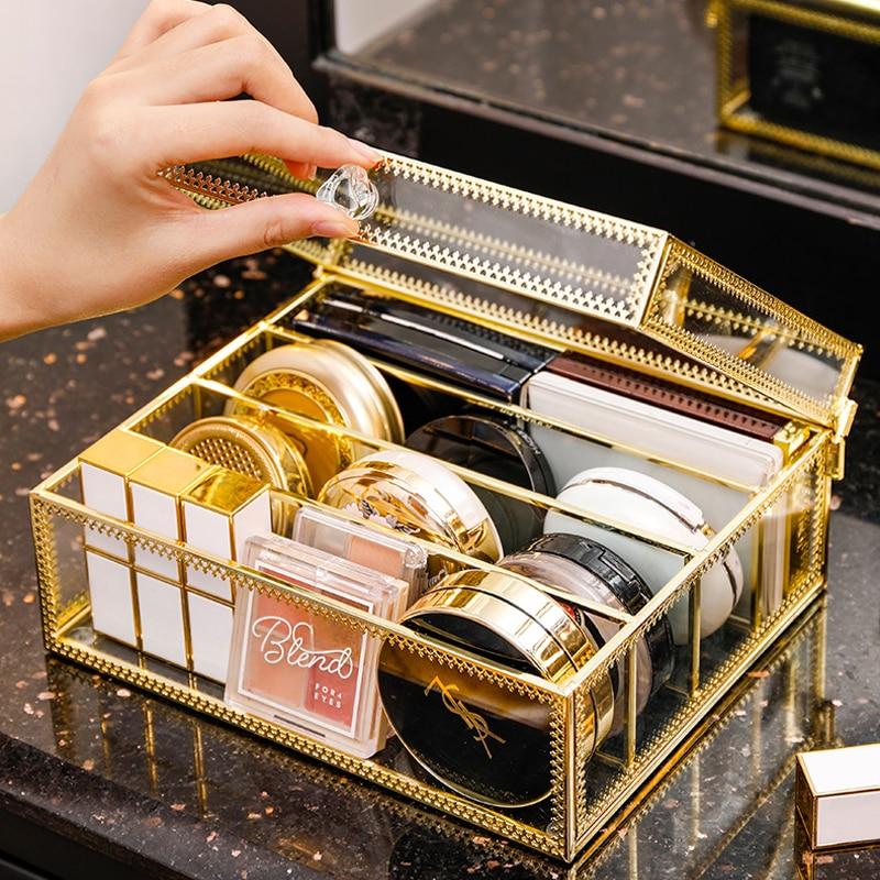 Dustproof Makeup Organizer Glass Eyeshadow Powder Storage Box Dresser Lipstick Holder Cosmetic Display Stand Make up Organizer