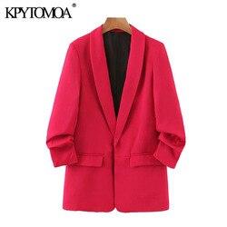 Женская офисная одежда KPYTOMOA, винтажные блейзеры с отвернутыми рукавами и карманами, верхняя одежда для женщин 2020