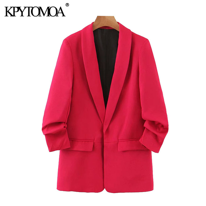 KPYTOMOA Women 2020 Fashion Office Wear Basic Blazers Coat Vintage Rolled-up Sleeves Pockets Female Outerwear Chic Tops