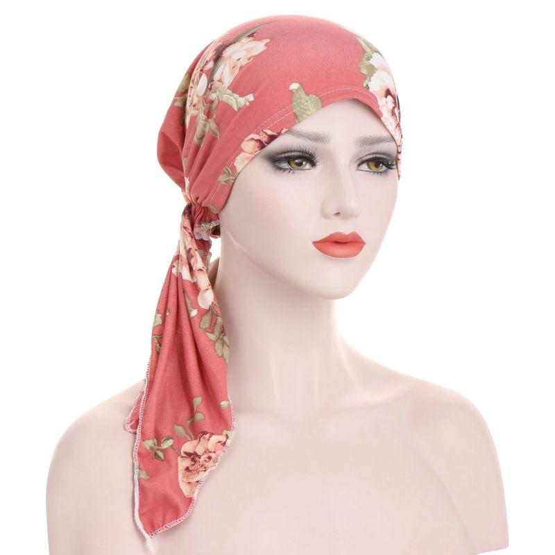 Hijab Floral Turban Chemo Cap Muslim Stretch Wrap Hair Loss Head Scarf Hat Women