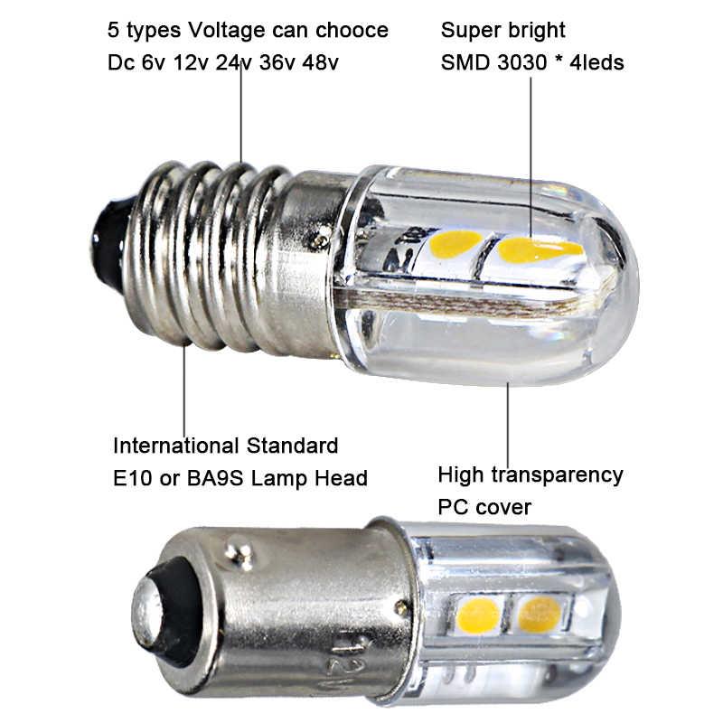 New スーパーミニ led 電球 E10 BA9S T4W 6v 12v 24v 36v 48v 110v 220 12v インジケータライト警告光エネルギー節約ランプ
