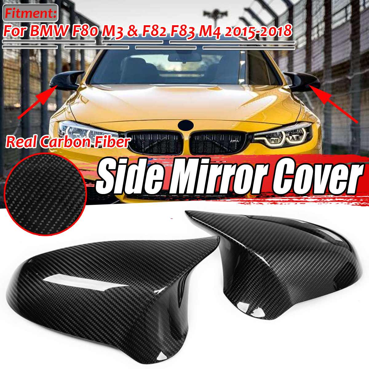 Real Carbon Fiber Car Door Side Mirror Cover Add On For BMW M3 M4 F80 F82 15-18
