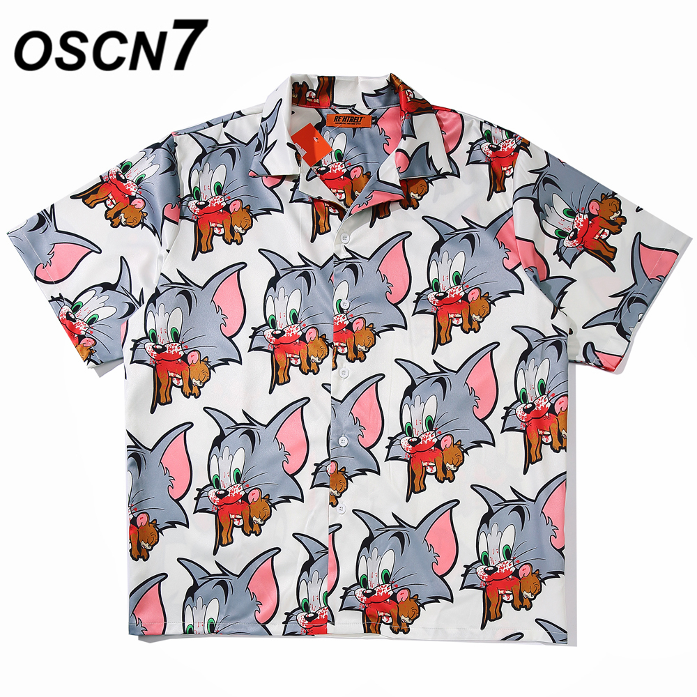 OSCN7 Casual Printed Short Sleeve Shirt Men Street 2020 Hawaii Beach Oversize Women Fashion Harujuku Shirts For Men A01