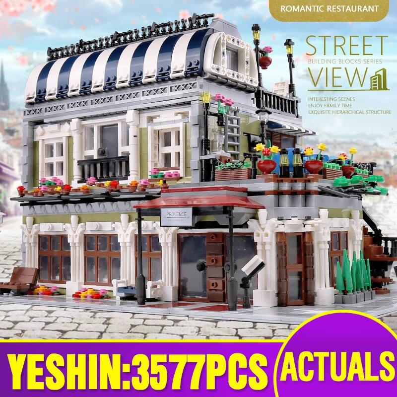15010 City Street Building Compatible With Lepining 10243 MOC Romantic Parisian Restaurant Set Building Blocks Kids Toys Gifts