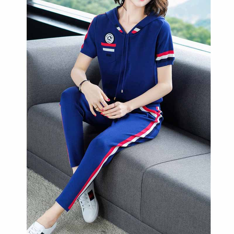 Ozhouzhan Sports Casual Short Sleeve Set Female Spring New Style Loose-Fit European Goods Fashionable Western Style Viscose Two-