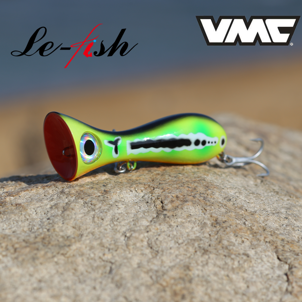 Le fish <font><b>Big</b></font> Game Lure 97mm 33g New Popper Fishing Lures Top Water Hard <font><b>Bait</b></font> 3D Eyes <font><b>Big</b></font> Mouth Popper Lure With VMC 9626 HOOK image