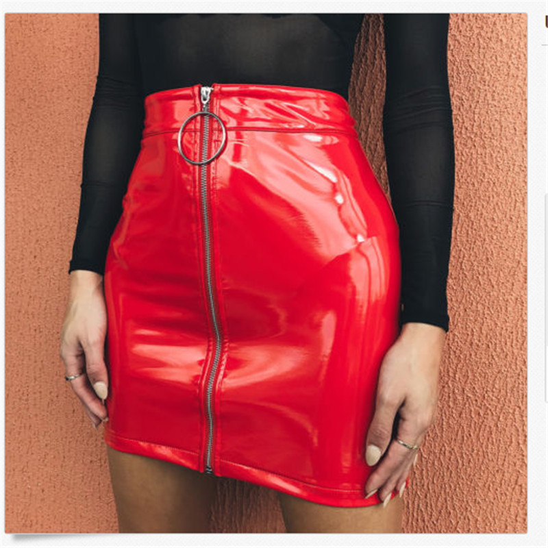 Women Skirt Fashion High Waist Sexy Zip PU Faux Leather Short Pencil Bodycon Mini Skirts Solid White Black Red Skirt