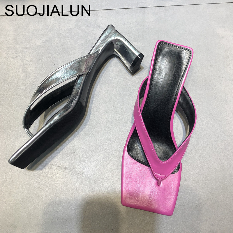 SUOJIALUN 2020 New Women Slippers Slides Square Toe Med Heel Sandal Shoes Ladies Summer Outdoor Beach Flip Flops Slides Shoes