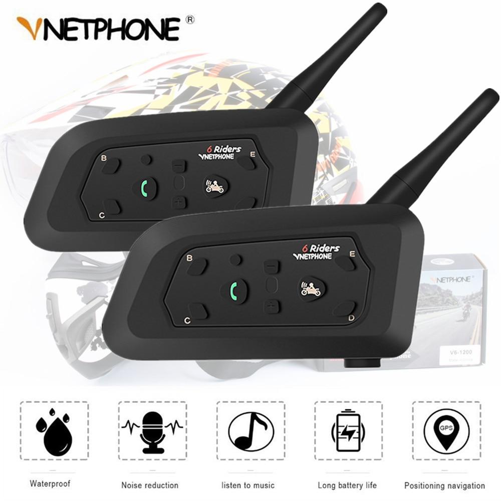 2PCS Bluetooth Helmet Intercom 1200M Wireless Motorcycle Waterproof Headsets For 6 Riders Multi-intercomunicador GPS MP3 IP65