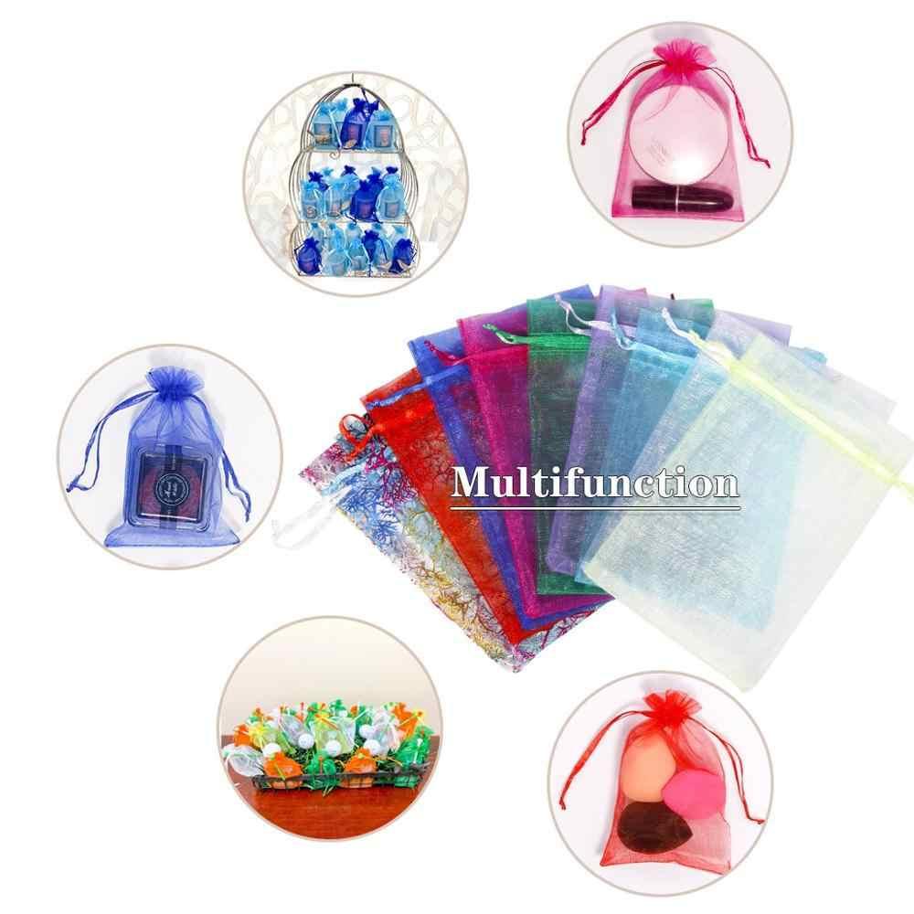 100 sztuk/partia torba Organza 5*7cm,7*9cm,9x12cm boże narodzenie torba ślubna torby cukierków prezent woreczki opakowania biżuterii wyświetlacz 23 kolory