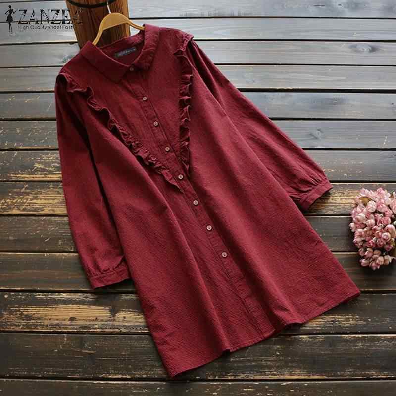 ผู้หญิงผ้าลินินผ้าลินินเสื้อ ZANZEA LADIES Lapel คอลายสก๊อตเสื้อ 2020 VINTAGE Ruffles แขนยาวเสื้อ Chemise 5XL