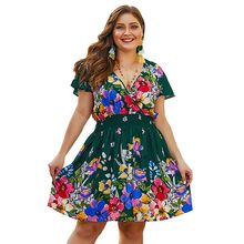 цены на Plus Size Women Holiday BOHO V Neck Tunic Floral Print Skater Swing Short Dress в интернет-магазинах