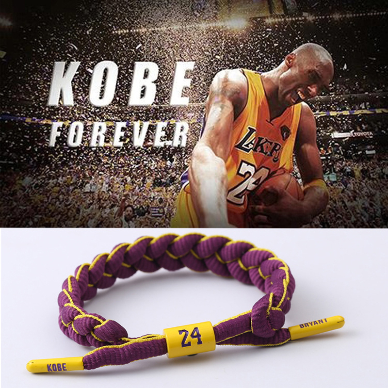 New Kobe Bryant shoe lace <font><b>bracelet</b></font> The Black Mamba kobe <font><b>bracelets</b></font> gifts for basketball fans kobe 9 Accessories drop ship image
