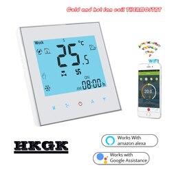 2 tubo de ar condicionado tipo unidade bobina do ventilador termostato wi fi tuya para fcu funciona com alexa google casa
