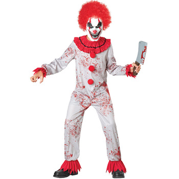 Umorden Fantasia Purim Halloween Costumes for Child Kids Boys Scary Creepy Bloody Killer Circus Clown Jester Costume Cosplay недорого