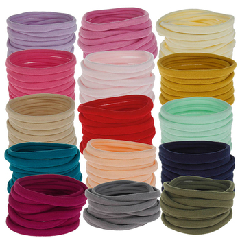 10Pcs/Lot Kids Nylon Headband Solid Color Small Elastic Hair Bands Set Girl Ponytail Holder Rubber Band Hair Accessories image