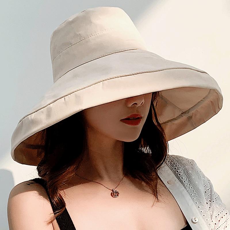 K34 Fashion Summer Big Brim Sun Hat For Female Seaside Sun Protection UV Cap Japanese Wild Fisherman Hat Korean Version 2020 NEW 3
