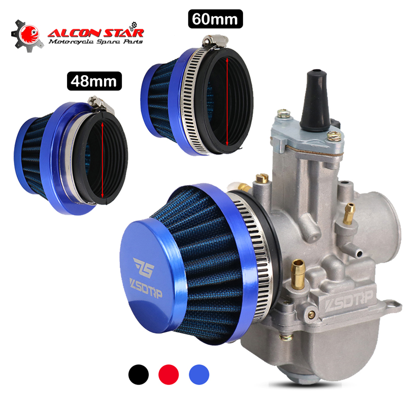 Alconstar- 48mm 60mm Motorcycle Air Filter Cleaner for Dellorto SHA Carb Carburetor 50cc 70cc 90cc 110cc ATV Dirt Bike Moped