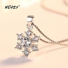 NEHZY-collar con colgante de plata de ley 925 para mujer, joyería de moda para mujer, flor de alta calidad, cristal de circón, 45CM de longitud
