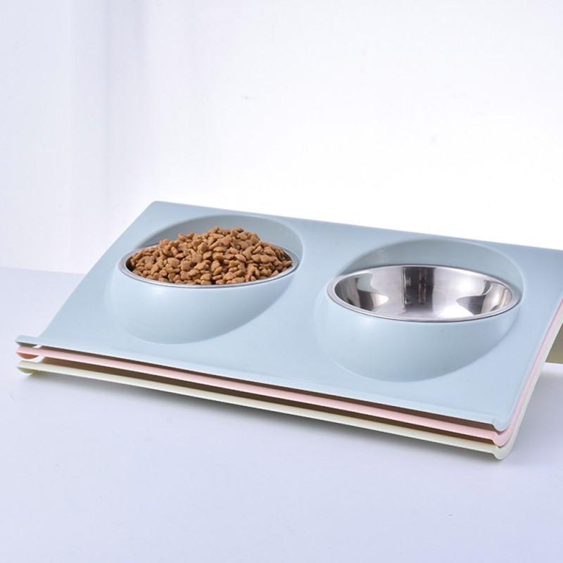 Pet Dog Anti-slip Simple Double Feeding Bowl For Dogs And Cats Easy To Clean Pet Feeder Mascotas Supplies