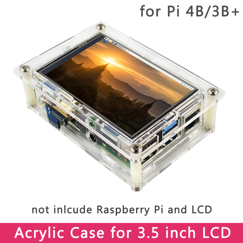 Raspberry Pi 4 Acrylic Case For HDMI 3.5 Inch Touch Screen LCD Display Compatible Raspberry Pi 4 Model B/3B+/3B Special Design
