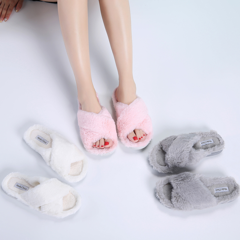 TKN House Slippers Flats Warm-Shoes Female Winter Women Ladies on Indoor 8011