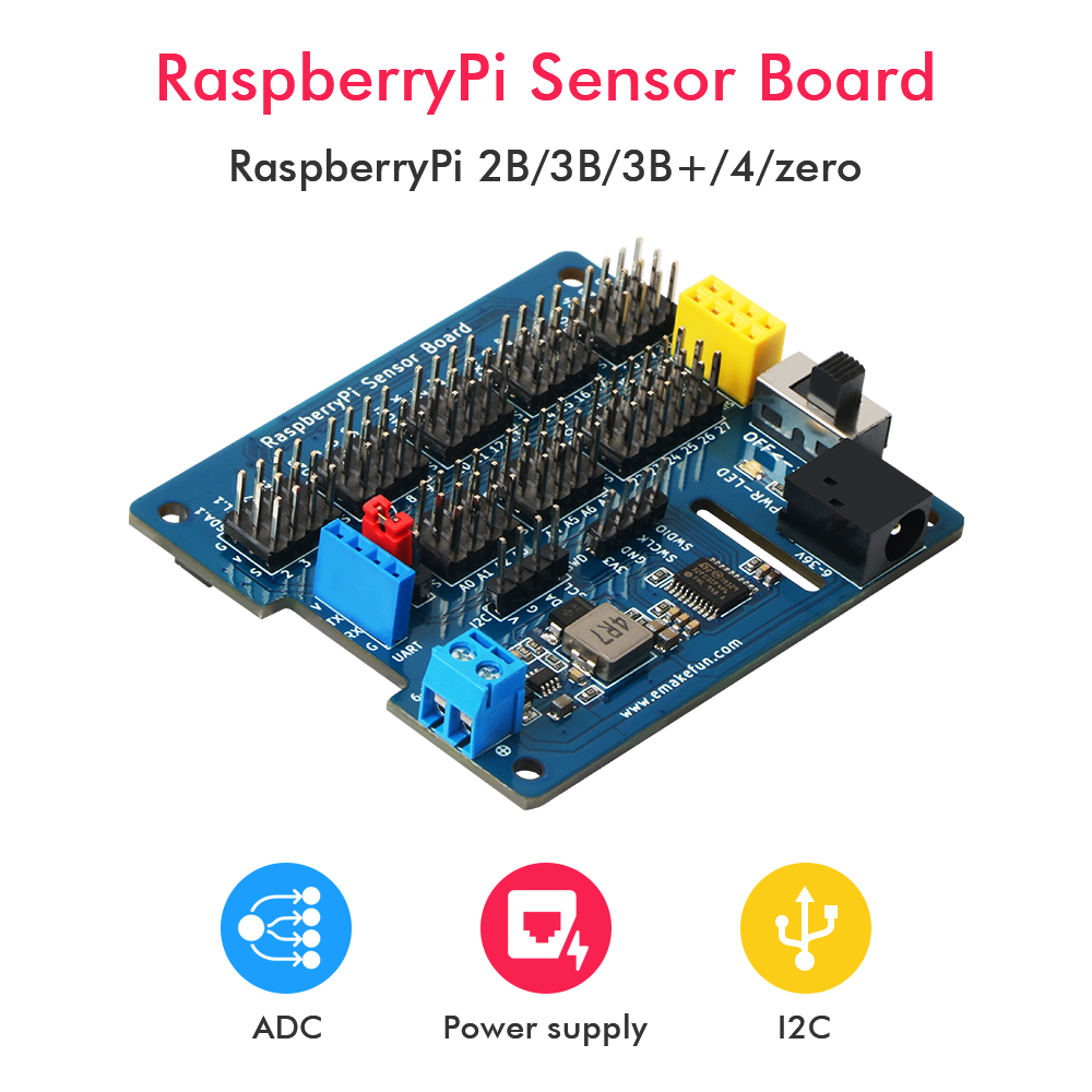 Promote╟Keywish Expansion-Board Support MCU Raspberry Pi 8-Channel for 3B/3B 4/zero 5V 3A Adc-Reading