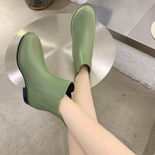 2021 Fashion Rain Boots Women's Short Rain Boots Non-slip Low Cut Water Shoes Adult External Wear Keep Warm Waterproof Shoes