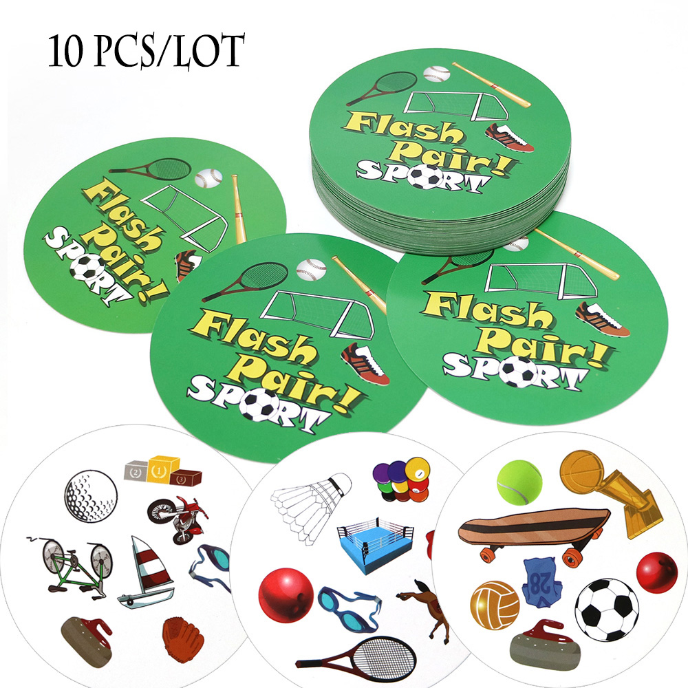 Wholesale 10 Pcs/lot Flash Pair Sport Board Game High Quality Card Games For Kids Fun Home Party Game Pair It Dobble