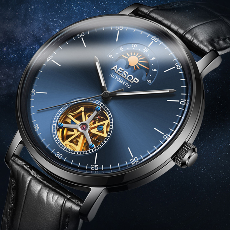 AESOP Automatic Mechanical Watch Men Luxury Brand Bussiness Waterproof Wristwatch Leather Strap Male Clock Montre Homme 2020 New