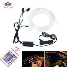 цена на 5M RGB Fiber Optic Atmosphere Lamps Car Interior Ambient Light Neon Strip Light Decorative Dashboard Door Remote Control