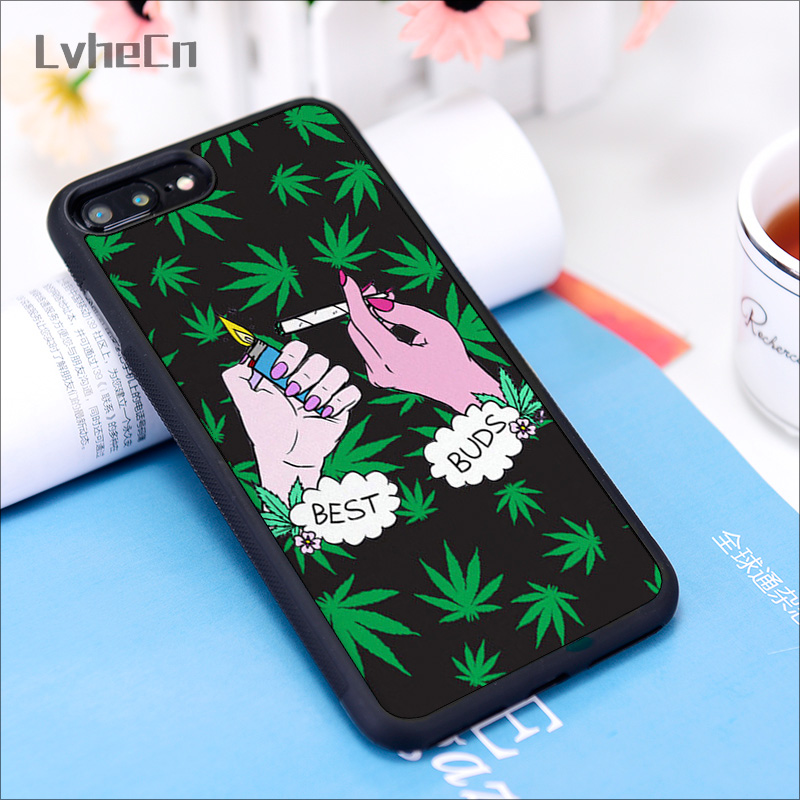 Lvhecn 6 6s Phone Cover Cases For Iphone 7 8 Plus X Xs 11 Pro Max Xr Soft Silicon Rubber Weed Ganja Marihuana Cannabis Best Buds Fitted Cases Aliexpress