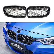 A Pair Chrome Diamond Kidney Grilles Meteor Style Front Bumper For BMW 3 Series F30 F35 F31 2012 2018 Car Styling Accessories