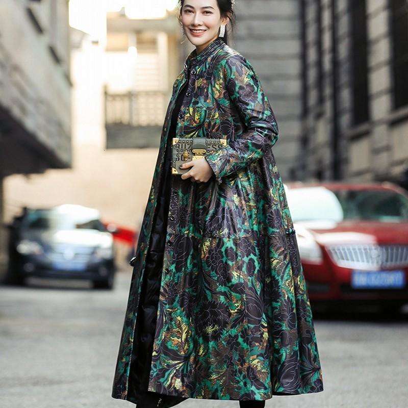 Leather Women's Lower Coat Designer New Method Length Print Collar Upper Simple Button Release Women's Lower Coat