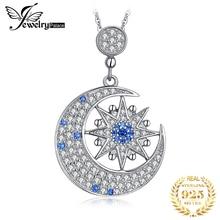 JPalace Luna estrella creado colgante de espinela Collar de plata de ley 925 piedras preciosas gargantilla collar de declaración mujeres sin cadena